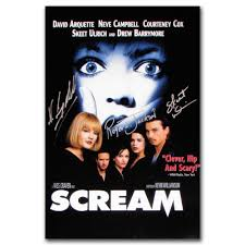 Scream Poster Autographed By Cast Members - Campbell, Ulrich & Jackson -  NHL Auctions