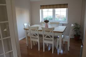 french style dining room design with white wooden ikea chair idea wth wooden table and wooden