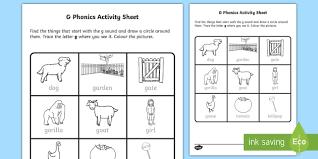 Phonics worksheets, letter sound worksheets. G Phonics Worksheet Worksheet Irish Worksheet