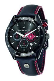 maserati time mens designer watches watch avenue maserati time sorpasso black dial and black red stitching leather strap