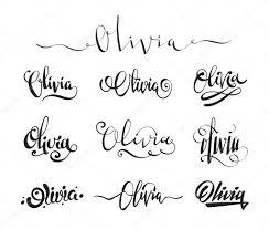 личное имя татуировки оливия векторное изображение