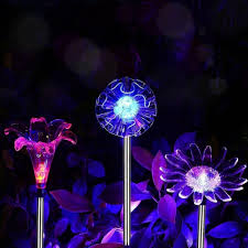 2018 solar garden lights 3 pack solar garden stake lights with a purple led light stake multi color changing led from super04 16 08 dhgate com