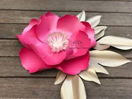 Paper Flower Video Small Peony Paper Flower Video Tutorial And Centre Template Paper Flower Pattern Pdf Svg Cricut Silhouette Cameo Paper Flower Template