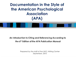 Ppt Documentation In The Style Of The American Psychological