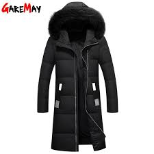 men s down jackets fur collar long coat male winter mens fur parkas feather jacket men plus size warm coats black long garemay by genguo