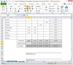 Biweekly Timesheet Excel Free Bi Weekly Timesheet Template For Excel 2013