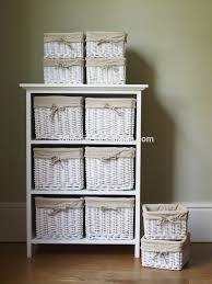 Wicker Basket Cabinet White Floral Wicker Basket Storage Cabinet Unit With Cupboard