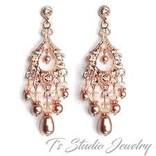 chandelier earrings rhinestone wedding rose gold vintage