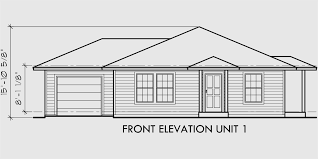 house front drawing elevation view for d 392 single story duplex house plans corner