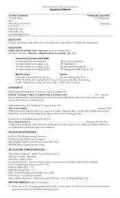 Accounting Intern Resume Examples Internship Sample For College