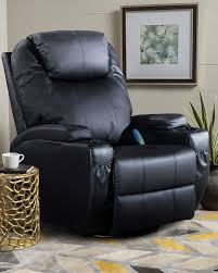 Leather Swivel Rocker Recliner Chair In Black,Heat And Massage ...