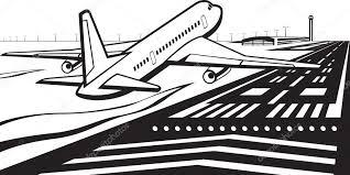 空港の滑走路に飛行機が着陸しました ストックベクター Angelha