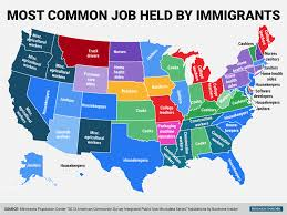 immigrant jobs state map business insider most common job held by immigrants in each state corrected background