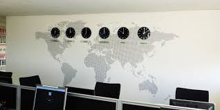 World Map Office Wall Mural Installed With Clocks And