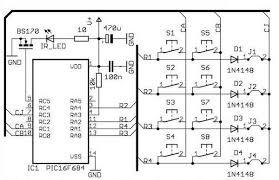 infra radio remote control transmitter receiver pic16f630 schematic remote control transmitter