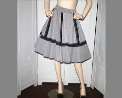 Malco Modes Color Chart Vintage Black And White Check With Lace Trim Square Dance Skirt Malco Modes Medium To Large