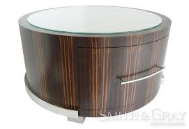 ebony round coffee table with glass top and drawer highly polished stainless steel base
