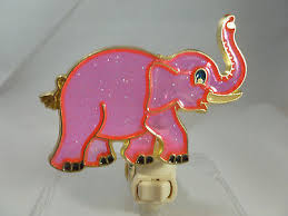 stain glass style pink elephant night light