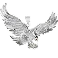 cz large eagle pendant necklace in