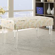 acrylic bedroom furniture. Hofstade Sequin Colorblock Upholstered Bench With Acrylic Leg Acrylic Bedroom Furniture