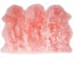 uk made super soft extra large pale baby pink genuine real sheepskin rug hide