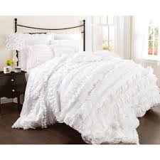bedroom lush decor belle 4 piece comforter set with white ruffle