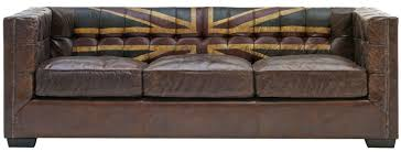 Artistic Picture Of Furniture For Living Room And Interior Decoration Using  Decorative Dark Brown English Flag Worn Leather Couches Image
