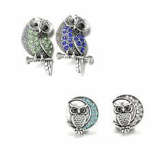 18mm rhinestone ginger snap on charms bracelet interchangeable jewelry owl