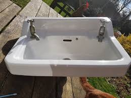 vintage reclaimed bathroom utility sink basin ceramic china