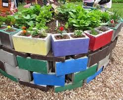 colorful cinderblock raised bed