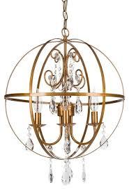 luna 4 light wrought iron crystal orb chandelier gold