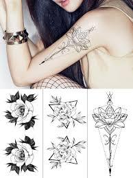 Womens 3 Pcsset Tattoo Sticker Floral Pattern Waterproof Non Toxic Stylish Simulation Tattoo
