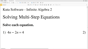 kuta algebra 2 multi step equations part 1