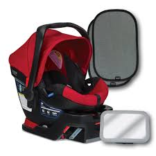 com britax b safe 35 infant car seat red back seat mirror and 2 ez cling window sun shades baby