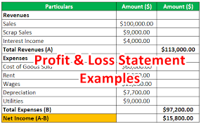 Profit And Los Profit And Loss Statement Examples Calculation With Full