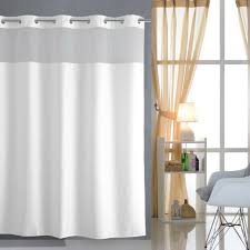 hookless shower curtain with mesh panel mildew resistant white