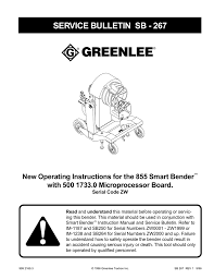 Greenlee 881 Table Bender Chart New Operating Instructions For The 855gx Smart Bender With