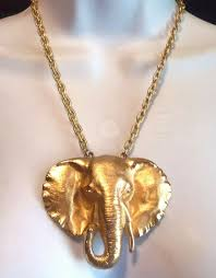 Designer Elephant Jewelry Details About Napier Signed Large Gold Plated Elephant Head Necklace Beautiful