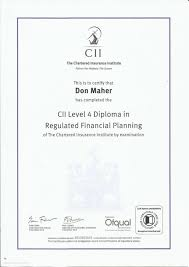 level diploma in regulated financial planning cii level 4 diploma in regulated financial planning