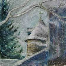 swirling snow at the scottsdale farm silo plein air painting copyright christine montague