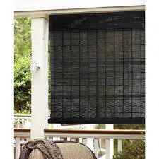 black matchstick blinds exterior black bamboo roll up shades porch over white polish wooden blind for