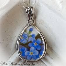 home broken china jewelry pendants necklaces forget me not broken china jewelry teardrop sterling pendant necklace