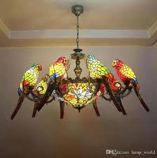stained glass light parrots dragonfly chandelier style artistic classical stained glass suspension light hanging lamp light stained glass