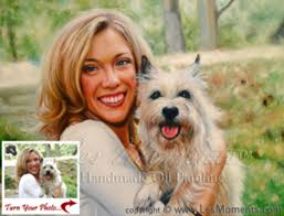 moments les custom pet dog cat portrait oil painting based on your pet photo 2 people