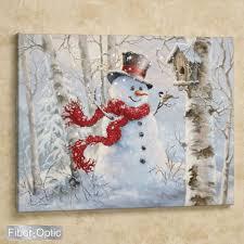 Lighted Christmas Artwork Dona Gelsinger Snowman Lighted Canvas Wall Art Christmas