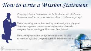 How To Write Company Mission Statements Youtube