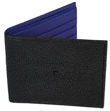 home sort by leathers stingray leather stingray leather wallet bifold with id holder black w navy blue leather interior