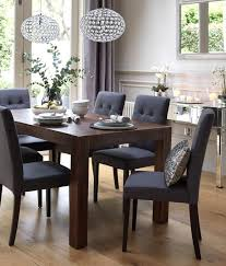 home dining inspiration ideas dining room with dark wood dining table and grey upholstered dining chairs