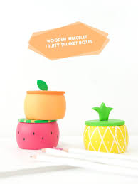 create diy fruity wooden bracelet trinket boxes with a wooden bracelet and clay to create the