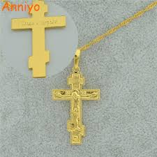whole ashion jewelry necklace anniyo silver gold color orthodox ity church eternal cross pendant necklace jewelry russia greece ukrain
